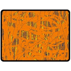 Orange pattern Double Sided Fleece Blanket (Large)