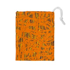 Orange pattern Drawstring Pouches (Large)