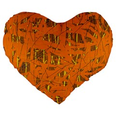 Orange pattern Large 19  Premium Flano Heart Shape Cushions