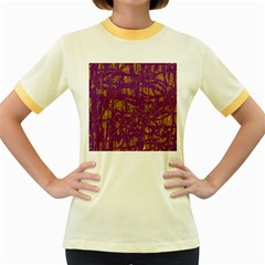 Purple pattern Women s Fitted Ringer T-Shirts