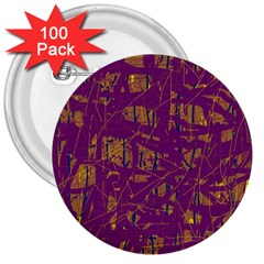 Purple pattern 3  Buttons (100 pack)