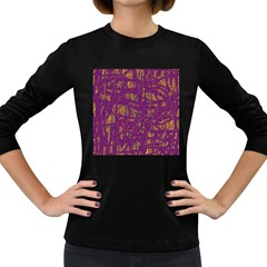 Purple pattern Women s Long Sleeve Dark T-Shirts