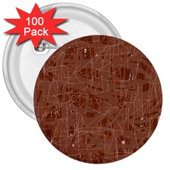 Brown pattern 3  Buttons (100 pack)
