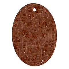 Brown pattern Oval Ornament (Two Sides)