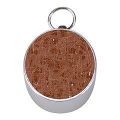 Brown pattern Mini Silver Compasses