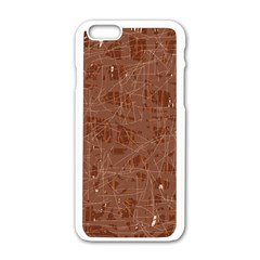 Brown pattern Apple iPhone 6/6S White Enamel Case