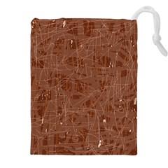 Brown pattern Drawstring Pouches (XXL)