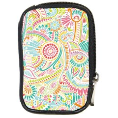 Hippie Flowers Pattern, Pink Blue Green, Zz0101 Compact Camera Cases