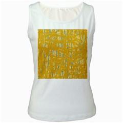 Yellow pattern Women s White Tank Top