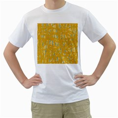 Yellow pattern Men s T-Shirt (White) (Two Sided)