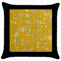 Yellow pattern Throw Pillow Case (Black)