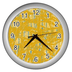 Yellow pattern Wall Clocks (Silver)