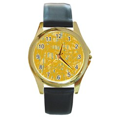 Yellow pattern Round Gold Metal Watch