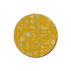 Yellow pattern Rubber Round Coaster (4 pack)