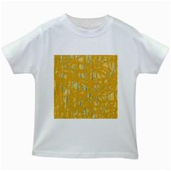 Yellow pattern Kids White T-Shirts