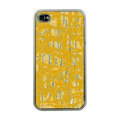 Yellow pattern Apple iPhone 4 Case (Clear)