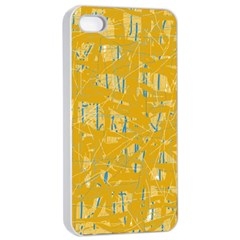 Yellow pattern Apple iPhone 4/4s Seamless Case (White)