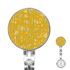Yellow pattern Stainless Steel Nurses Watch