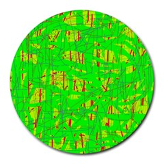 Neon green pattern Round Mousepads