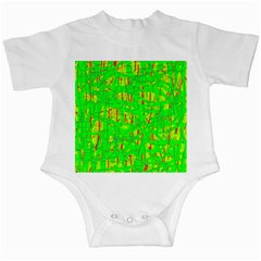Neon green pattern Infant Creepers