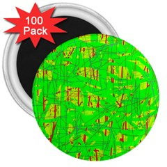 Neon green pattern 3  Magnets (100 pack)