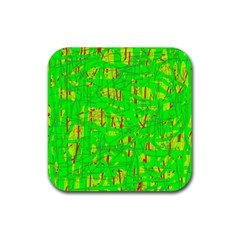 Neon green pattern Rubber Square Coaster (4 pack)