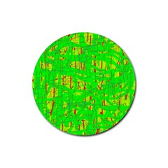 Neon green pattern Rubber Coaster (Round)