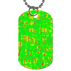 Neon green pattern Dog Tag (Two Sides)