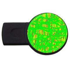 Neon green pattern USB Flash Drive Round (1 GB)