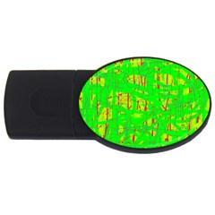 Neon green pattern USB Flash Drive Oval (2 GB)