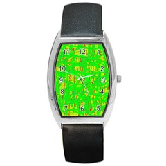Neon green pattern Barrel Style Metal Watch