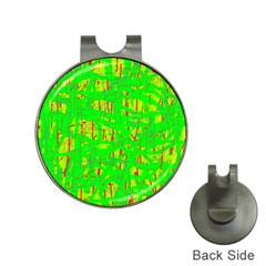 Neon green pattern Hat Clips with Golf Markers