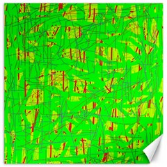 Neon green pattern Canvas 12  x 12