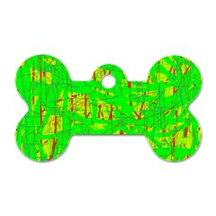 Neon green pattern Dog Tag Bone (Two Sides)