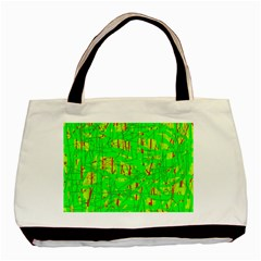Neon green pattern Basic Tote Bag (Two Sides)