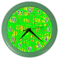 Neon green pattern Color Wall Clocks
