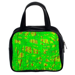 Neon green pattern Classic Handbags (2 Sides)