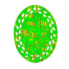 Neon green pattern Oval Filigree Ornament (2-Side)