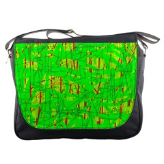 Neon green pattern Messenger Bags