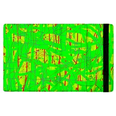 Neon green pattern Apple iPad 2 Flip Case