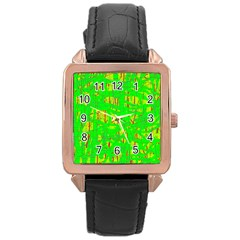 Neon green pattern Rose Gold Leather Watch