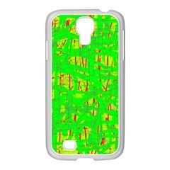 Neon green pattern Samsung GALAXY S4 I9500/ I9505 Case (White)