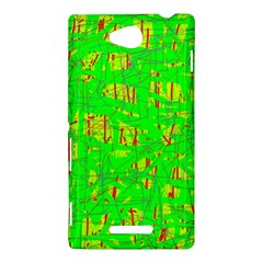 Neon green pattern Sony Xperia C (S39H)
