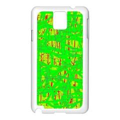 Neon green pattern Samsung Galaxy Note 3 N9005 Case (White)