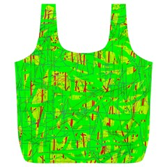 Neon Green Pattern Full Print Recycle Bags (l)