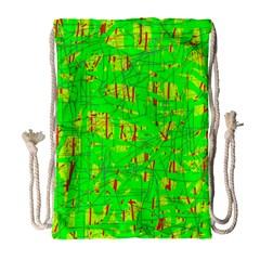Neon green pattern Drawstring Bag (Large)