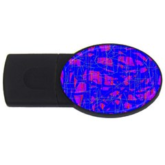 Blue pattern USB Flash Drive Oval (1 GB)