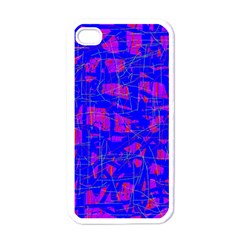 Blue pattern Apple iPhone 4 Case (White)
