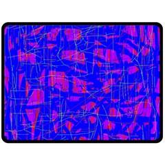 Blue pattern Double Sided Fleece Blanket (Large)