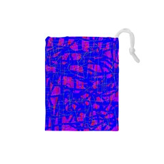 Blue pattern Drawstring Pouches (Small)